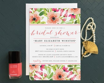 Floral Bridal Shower Invitations - Gold, Peach, Coral, Pink, Garden Brunch Shower