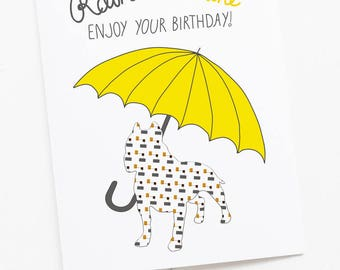 Birthday Rain or Shine Dog Greeting Card with Umbrella