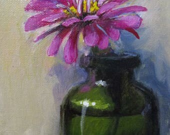 Pink Zinnia - original daily painting by Kellie Marian Hill