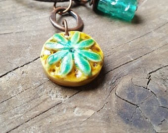 Polymer Clay Pendant with accent bead