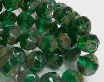 15ct 9mm Fire Polished Czech Glass Emerald Green Nugget Beads