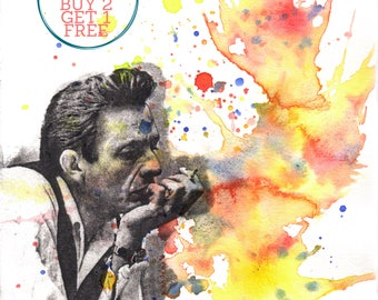 Johnny Cash Portrait Fine Art Poster Print From Original Watercolor Painting - 8x10 in Art Poster Print