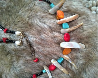 Bib Spike Necklace WOLF FANG -Turquoise,Red Coral,Mother of Pearl Orange beads,Pearl Necklace