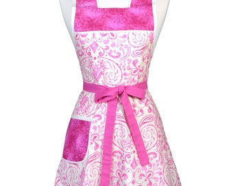 50s Style Retro Apron / Kumari Garden in Fuchsia Pink and Ivory Womans Vintage Old Fashioned Kitchen Apron to Monogram Embroidery (FM)