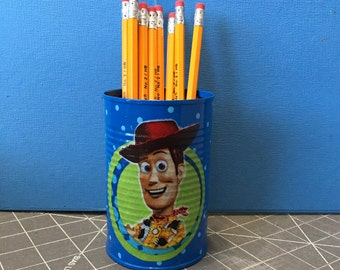 PENCIL HOLDER KPC173/Pencils/Pens/Brushes/Markers/Flowers/Candy/Money/Gift Holder (Toy Story Fabric)