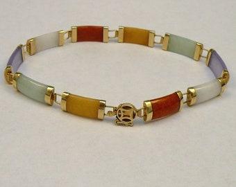 14K Gold Jade Bracelet Multi-Color HN China
