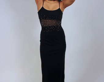 Vintage 90's Rhinestone and Mesh Maxi Dress with Thigh Slit