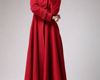 Red coat, long coat, wool coat, hooded coat, winter jacket, ruffle coat, luxury coat, unique handmade coat, boho coat, tailored coat (702)