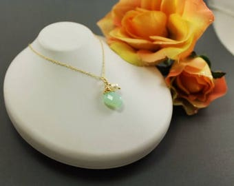 Aqua Chalcedony Leaf Necklace ~ Bridesmaids Gift ~ Spring Wedding ~ AdoniaJewelry