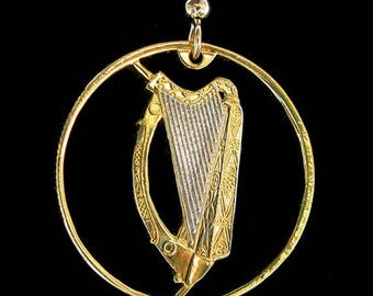 Cut Coin Jewelry - Earrings - Ireland - Harp