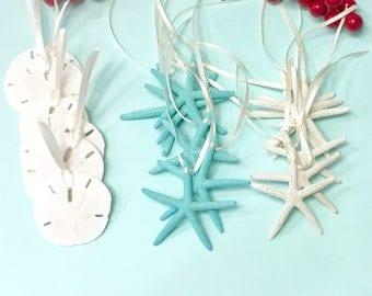Beach Christmas Ornaments - 18 Starfish and Sand Dollar Ornaments - Tropical Coastal Ornaments Beach Wedding Favors