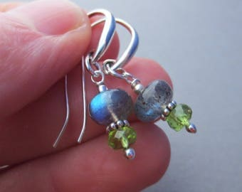 Labradorite Peridot Gemstone Sterling Silver Earrings EE Designs