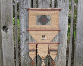Vintage Woven Wall Hanging , Fiber Textile Art Weaving
