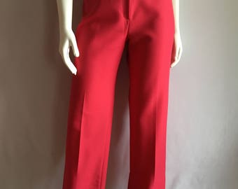 Vintage Women's 70's Raspberry, Polyester Pants, High Waisted, Tapered Leg by Mervyn's (M)