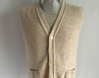 Vintage Men's 70's Jantzen, Sweater Vest, Tan, Button Down (L)