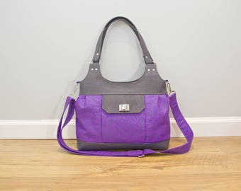 Iris Convertible Bag in Tattooed Quantum in Purple Pearlized with Charcoal Gray Cork