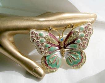 KJL Brooch Signed Butterfly Pin Enamel Rhinestones Jewelry