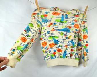 KIDS SIZE Vintage 1980s Terry Cloth Beach Hoodie Top Shirt