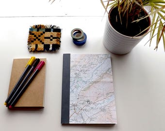 Snowdonia (Dolgellau) Map 1984 #5 - Afon Dysynni - Recycled Vintage Map Handbound Notebook with Upcycled Blank Pages