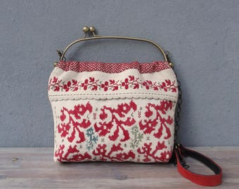 Vintage Embroidery Bag, Boho Folklore Bag, Leather, Linen, Kiss-lock, Red and White Bag