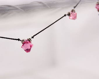 Pink Crystal Black Silk Necklace, Swarovski, Knotted Silk Cord