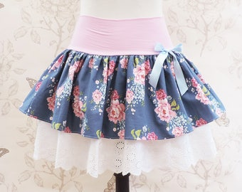 Dark blue kawaii skirt pink roses, stretch belt , and embroidered  lace