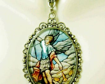 Archangel Michael stained glass window pendant and chain - AP09-245