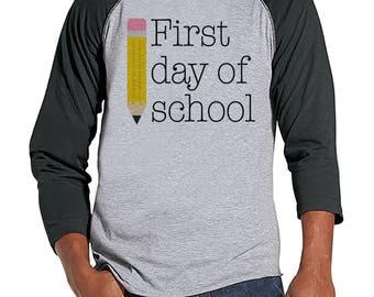 Teacher Shirts - First Day of School Shirt - Teacher Gift - Teacher Appreciation Gift - Gift for Teacher Team - Men's Grey Raglan Tee