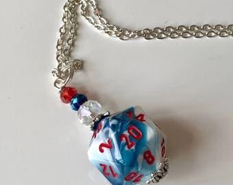 D20 dice blue white red D20 dice pendant dungeons and dragons pendant dice pendant D20 pendant dice jewelry geek pathfinder D20 dice