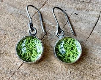 Sterling Silver Terrarium Moss Earrings