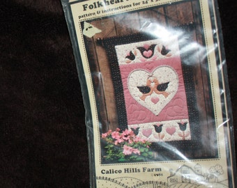 Folkheart and Flowers wall hanging  quilt pattern