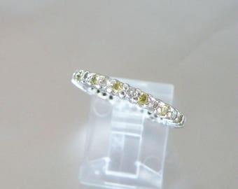 Sterling Silver 925 Simulated Diamond Like Cubic Zirconia Yellow White Eternity Wedding Band Ring Size 6