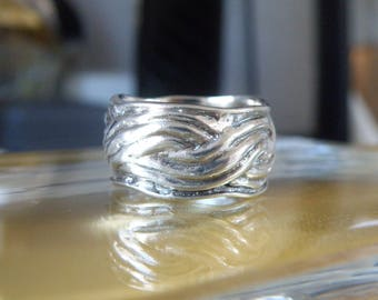 Vintage Modern Cable Israel Sculpted Sterling Silver 925 Cable Wide Band Ring Fits size 8.5