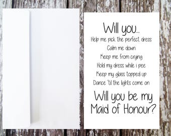 Will you be my Maid of Honour Card, Maid of Honour Proposal, MOH Duties, Funny Wedding Card, Maid of Honour Ask, Maid of Honour Questions