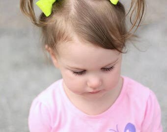 Small Hair Clips - Single or Pigtail Set - Neon Yellow Piggy Tail Clips - Hair Bows - Small Hair Clips for Pigtails - Summer Hair Bows