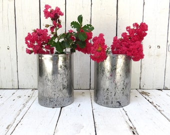 Mercury Glass Vase, Silver Vase Decor, Shabby Farmhouse Decor, Rustic Decor, Kitchen Decor, Cottage Decor, Cylinder Vase Wedding Centerpiece