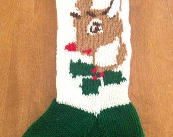Christmas Stocking Reindeer, Personalized Christmas Stocking,Knit Christmas Stocking