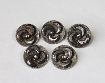 Antique Cut Steel Buttons Crescent Shape Wallpaper Pattern Matching Set Vintage Metal Buttons Lot of 5 Buttons 1800s