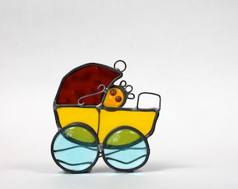 Vintage Stained Glass Suncatcher Baby In Buggy Baby Carriage With Googly Eyes Red Yellow Blue Too Cute Kids Room Nursery Decor