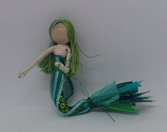 New!  Mermaid Bendy Doll by Tracys Garden Fairies - teal and green