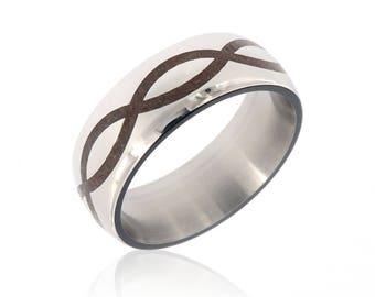 New Dinosaur Bone & Titanium Ring Handcrafted With Dinosaur Bone Fossil - Infinity Comfort Fit Wedding Bands - 8HR-Infinity-Dinosaur Bone