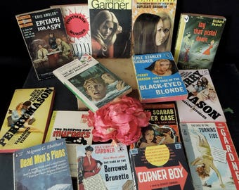 Classic Pulp Fiction Mystery Crime Detective Stories - Paperback Collection - Vintage Book Bundle - Man Cave Decor - Literary Gift