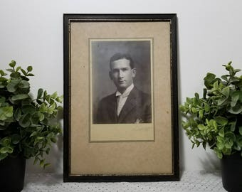 "Young Man Photographic Portrait, Vintage Antique. Framed signed ""Morse '09"" in chippy black frame, distressed tan mat. Somewhere in Time."