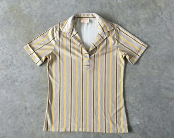 mustard and brown striped 60s polyester shirt - 1211028