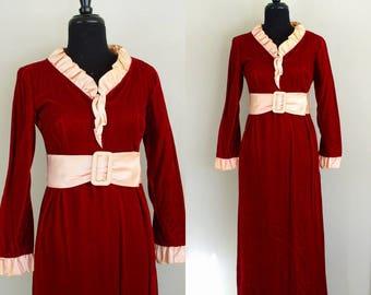 Vintage 1960's Victorian Revival Maxi Dress / Angelique / 60's Red Panne Velvet Empire Waist Gown