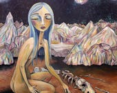 La Loba art Wolf Woman Bone Collector painting matted signed print