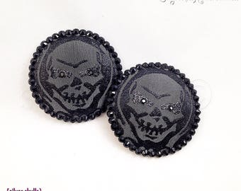 SAMPLE SALE Silver Skull Brocade Nipple Pasties - Size M - SugarKitty Couture