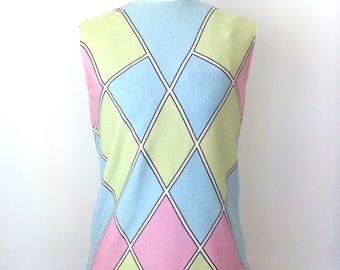 Vintage 1970s Zio Luigi Geometic Print Shell Top • Ladies Sleeveless Knit Shirt • Fairfield Graphic Pint Vintage Ladies Shirt
