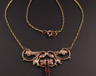 Art Nouveau Necklace, Flower Necklace, Purple Necklace, Floral Necklace, Delicate Necklace, Feminine Necklace