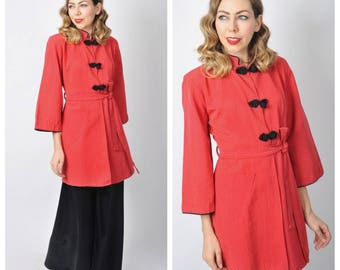 Vintage 1940's Red and Black Lounge Jacket Robe/ 40's Short Robe Dressing Gown Lounge Wear